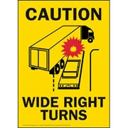 Right Turn Caution Sign Horizontal